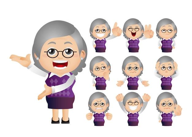 Leuke set van oude vrouw