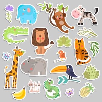 Leuke set van savanne en safari grappige cartoon stickers van dieren en bloemen.
