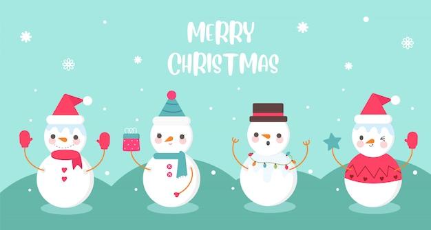 Leuke set van sneeuwpop in verschil kostuum banner