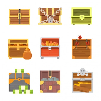 Leuke set van verschillende kisten. cartoon illustratie borst. veilig geld.