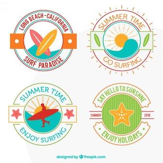 Leuke set van vier surf badges