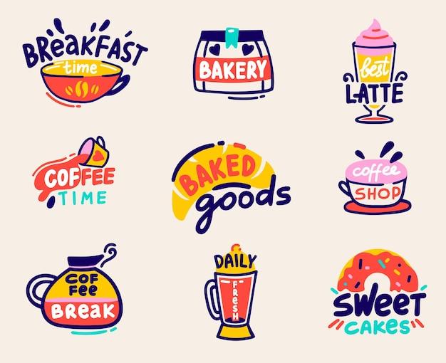 Leuke set voor bakkerij winkel of koffiehuis goederen ontwerp geïsoleerd op een witte achtergrond.