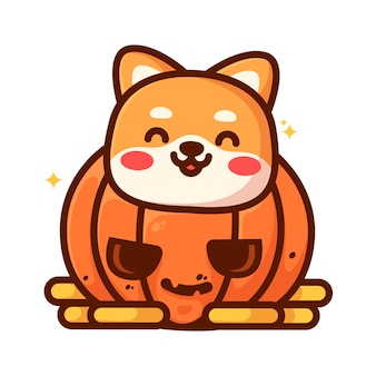 Leuke shiba binnen gesneden pompoen grappige halloween vectorillustratie