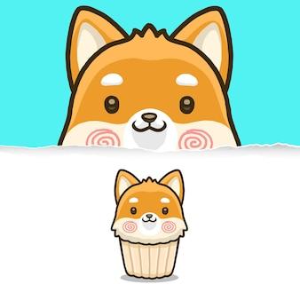 Leuke shiba-hond cupcake, dierlijk karakterontwerp.