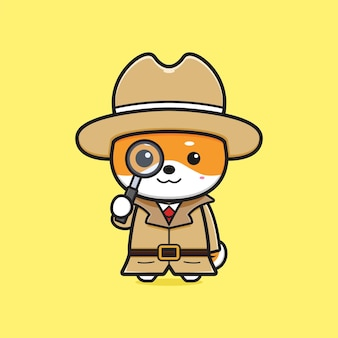 Leuke shiba inu detective met vergrootglas cartoon pictogram illustratie