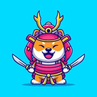 Leuke shiba inu dog samurai warrior cartoon afbeelding.