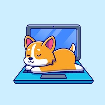 Leuke shiba inu-hond die op laptopbeeldverhaal slaapt