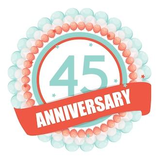 Leuke sjabloon 45 jaar jubileum met ballonnen en lint vect