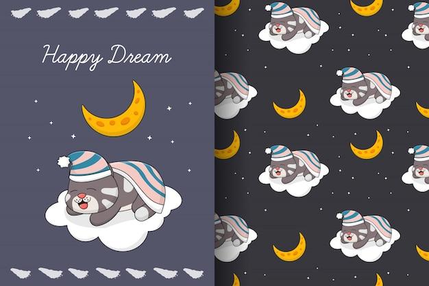 Leuke slaapkat met maan en wolken naadloos patroon en kaart