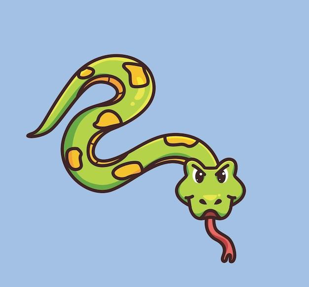 Leuke slang die op de grond glijdt. cartoon dierlijke natuur concept geïsoleerde illustratie. vlakke stijl geschikt voor sticker icon design premium logo vector. mascotte karakter