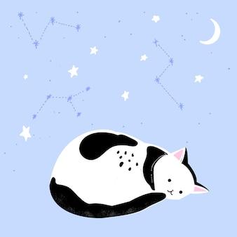 Leuke slaperige kat bij blauwe achtergrond en hemel met hand getrokken sterren en maanillustratie voor prints