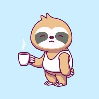 Leuke slaperige luiaard holidng kopje koffie cartoon pictogram illustratie.