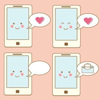 Leuke smartphonepictogrammen, ontwerpelementen. kawaii lachend karakter van de mobiele telefoon met spraak bubbels