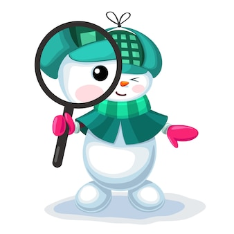 Leuke sneeuwman die door meer magnifier kijkt
