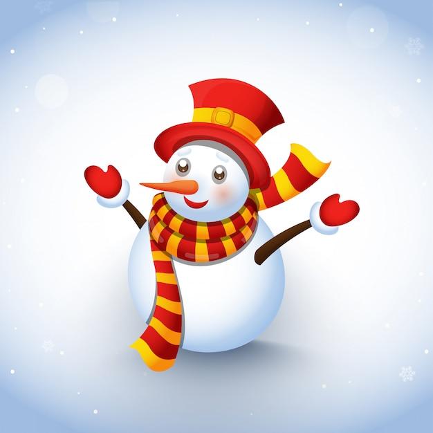 Leuke sneeuwman die kleren op de wintersneeuw draagt.