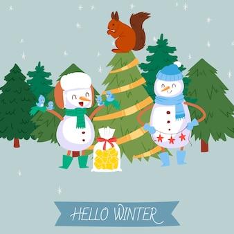 Leuke sneeuwman en de winter bosillustratie