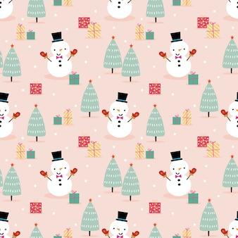 Leuke sneeuwman in het naadloze patroon van het kerstmisseizoen