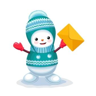 Leuke sneeuwman met een brievenvelop op zijn hand