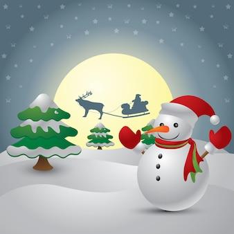 Leuke sneeuwman op de achtergrond van de nachtelijke hemel met een heldere maan en het silhouet van de kerstmanvlieg