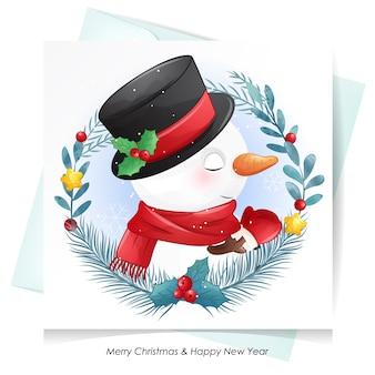 Leuke sneeuwman voor kerstmis met waterverfkaart