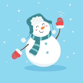 Leuke sneeuwpop die hand zwaait om hallo te zeggen.