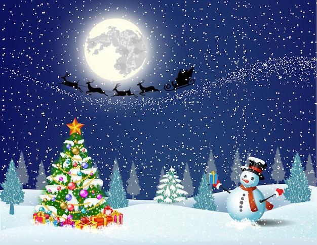 Leuke sneeuwpop op de achtergrond van de nachtelijke hemel