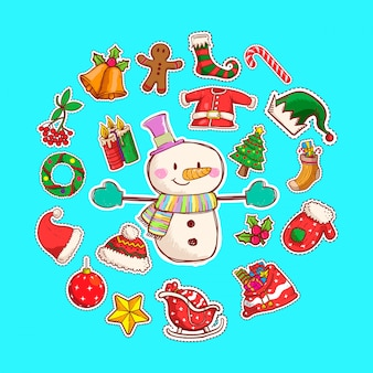 Leuke sneeuwpop vectorillustratie