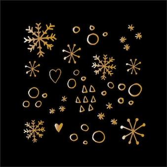 Leuke sneeuwvlokken in moderne doodle-stijl in vector op zwarte achtergrond