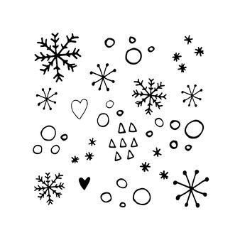 Leuke sneeuwvlokken in moderne scandinavische stijl in vector ontwerp voor winterdecoratie