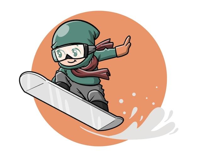 Leuke snowboarder cartoon