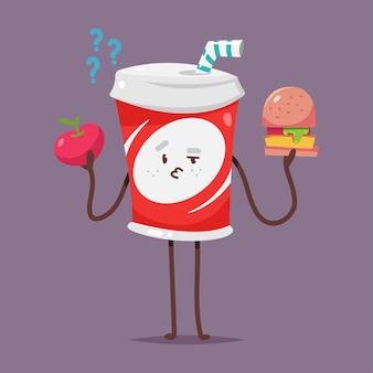 Leuke soda water karakterkeuze tussen appel en hamburger cartoon afbeelding