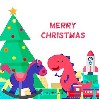 Leuke speelgoedachtergrond van kerstmis