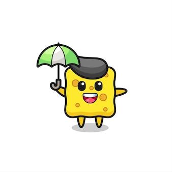 Leuke sponsillustratie met een paraplu, schattig stijlontwerp voor t-shirt, sticker, logo-element