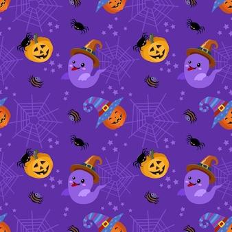 Leuke spook en halloween-pompoen met spinnewebachtergrond.