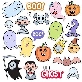 Leuke spook kleurrijke vector grafische elementen en doodle illustraties