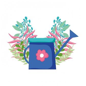 Leuke sproeier van tuin met bloemendecoratie