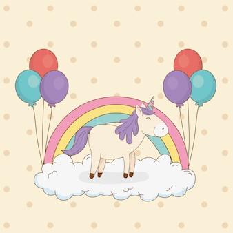 Leuke sprookjesachtige eenhoorn met ballonnen helium en regenboog