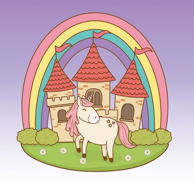 Leuke sprookjesachtige eenhoorn met kasteel en regenboog