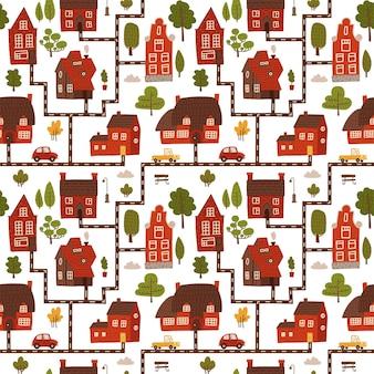 Leuke stad herbergt naadloos patroon