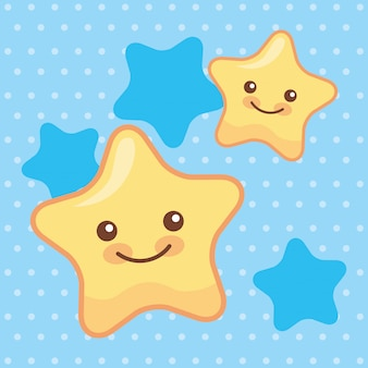 Leuke sterren die cartoons glimlachen