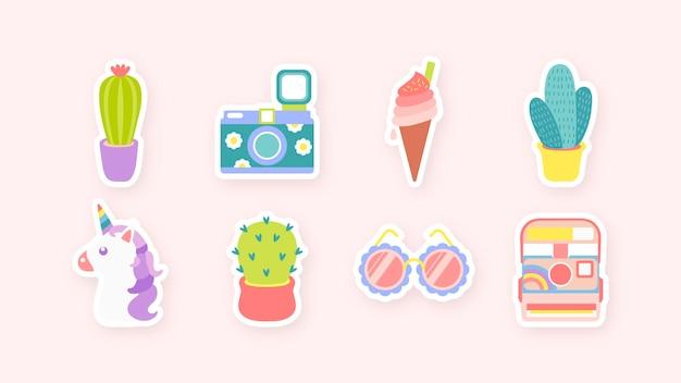Leuke sticker collectie illustratie