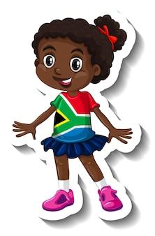 Leuke sticker van het stripfiguur van het afrikaanse meisje