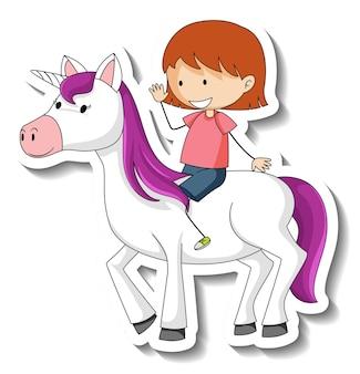 Leuke stickers met een klein meisje dat op een stripfiguur van een eenhoorn rijdt