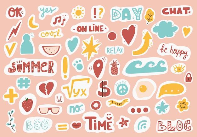 Leuke stickersjabloon versierd met cartoonafbeelding en trendy belettering