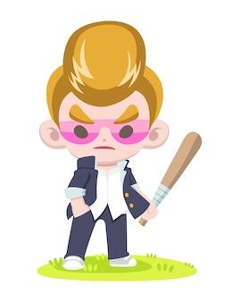 Leuke stijl japanse regent kapsel gangster bedrijf beslag cartoon afbeelding