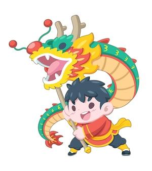 Leuke stijljongen voert traditionele draak dansende illustratie uit