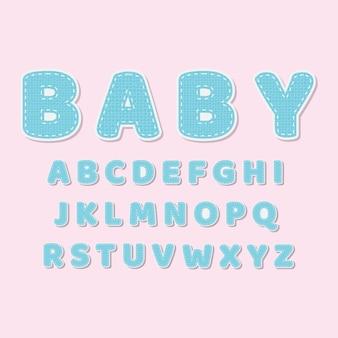 Leuke stoffen decoratieve lettertype voor babydouche