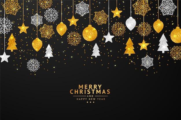Leuke string lichten kerstmis achtergrond met glitter effect