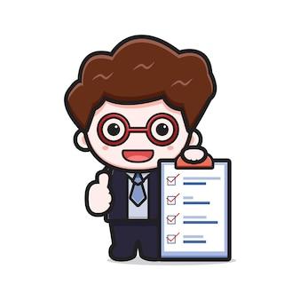 Leuke succesvolle zakenman voltooit de taak cartoon vector pictogram illustratie. ontwerp geïsoleerd op wit. platte cartoonstijl.