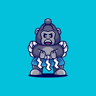 Leuke sumo gorilla illustratie